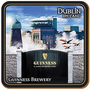 Guinness Image Montage cork backed drinks coaster  100mm x 100mm (sg)
